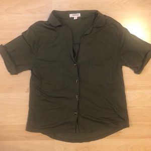 Olive button up - crop top